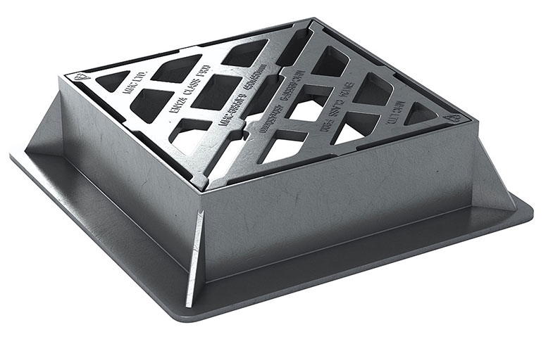 600 x 600 x 150mm Deep - Gully Grate and Frame, F900, Kitemarked, in Ductile Iron