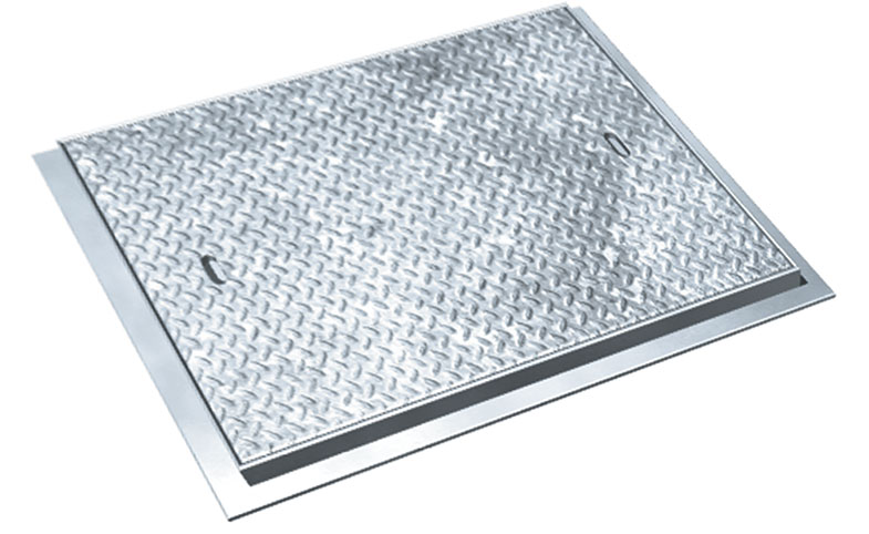600x600mm C/opening Galvanised Steel Chequer Plate, Solid Top, Forlift Duty Manhole Cover + Frame