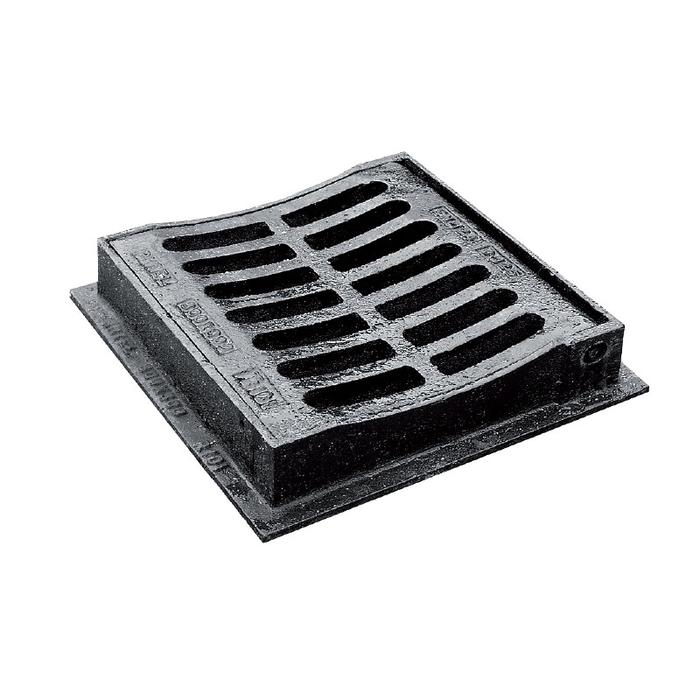 300 x 300 x 75mm B125 Hinged Dished Top Grating & Frame