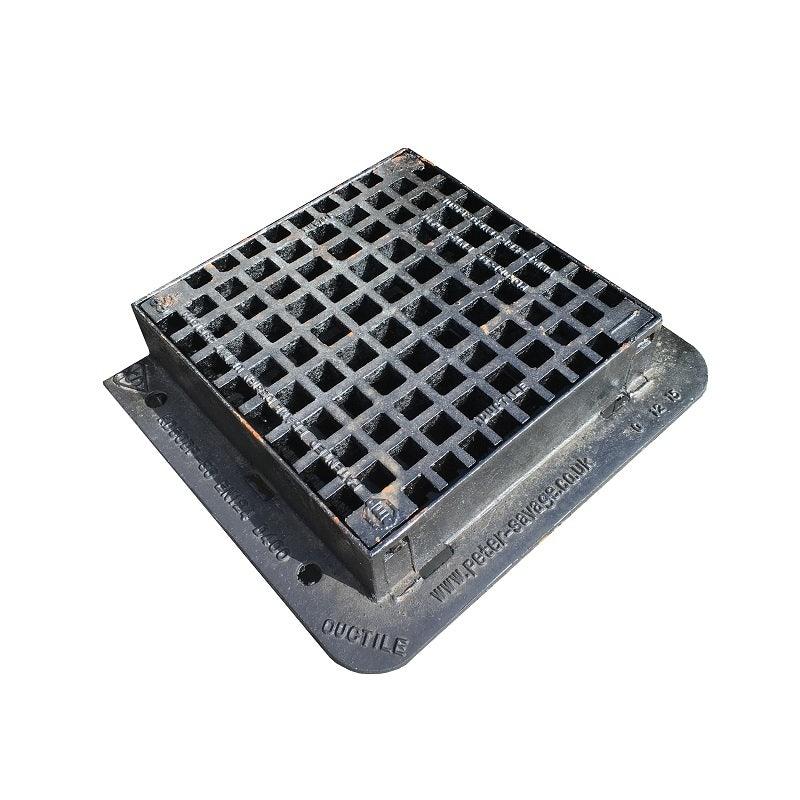 420 x 420 x 100mm D400 Hinged Gully Grate & Frame - PEDESTRIAN (KD50DP)