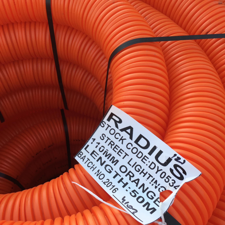 110mm x 50m Orange Twinwall Duct c/w draw cord (Street Lighting)